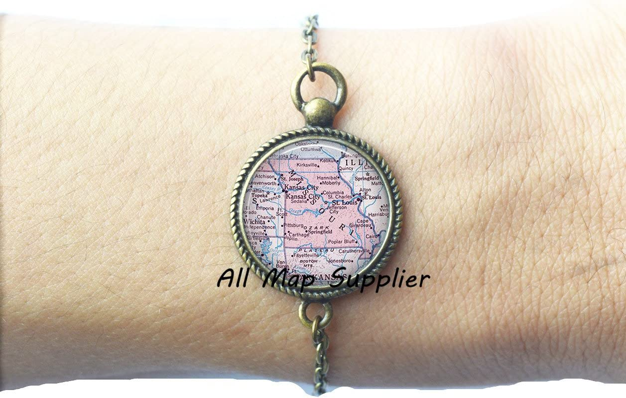 Missouri map Bracelet AllMapsupplier Charming Bracelet Missouri map Bracelets Missouri Bracelet Missouri Bracelets state map jewelry,A0090