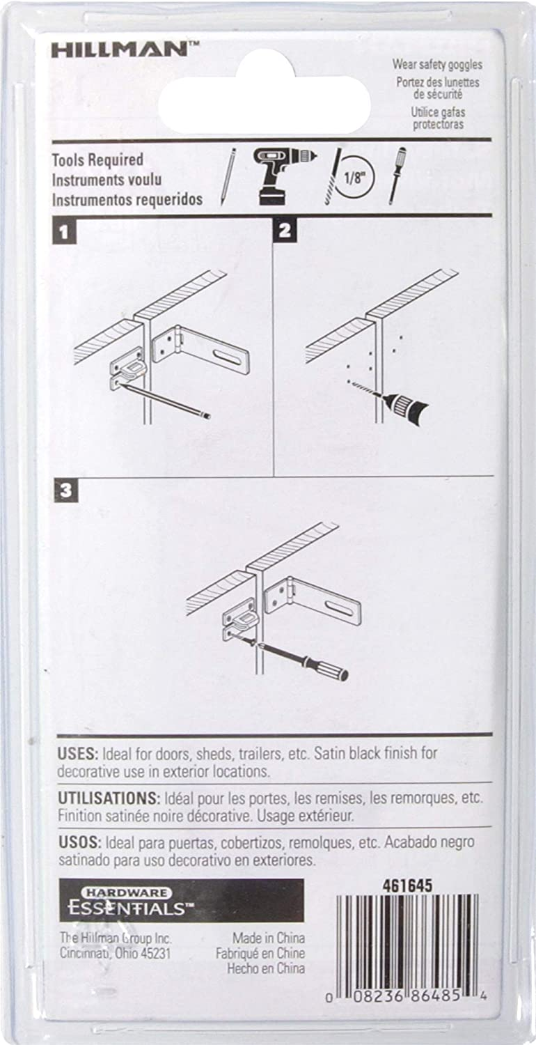 Amazon.com: Hillman Hardware Essentials 851425 Fixed Staple Safety Hasp Black 3-1/2