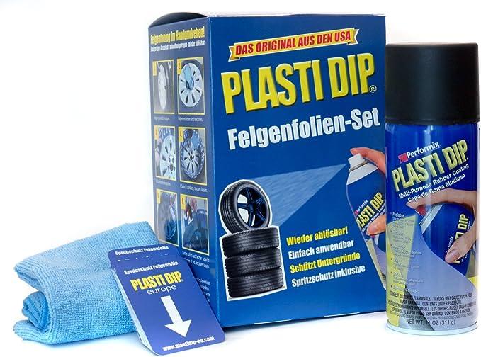 Performix Plasti Dip Felgenfolien Set 4x 325 Ml Schwarz Inkl Mikrofasertuch Und Sprühkarten Original Usa Produkt Auto