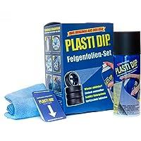 Performix Plasti Dip Felgenfolien-Set 4X 325 ml Schwarz inkl. Mikrofasertuch und Sprühkarten - Original USA Produkt