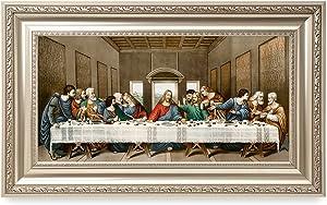 DECORARTS -The Last Supper, Leonardo da Vinci Classic Art Reproductions. Giclee Print& Silver Museum Quality Framed Art for Wall Decor. 24x12, Framed Size: 30x18