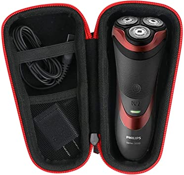 para Philips Series 3000/AT899/PT860/16 S5420/06 5000 S5110/06 Afeitadora eléctrica Duro Viaje Estuche Bolso Funda por Khanka (For series 3000/ AT899, Red zipper): Amazon.es: Salud y cuidado personal