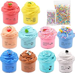 slimefavors 10 Pack Butter Slime Kit, Coffee Slime, Ice Cream Slime, Fruits Slime and Cake Slime, Super Soft & Non-Sticky, Birthday Gifts for Girls and Boys
