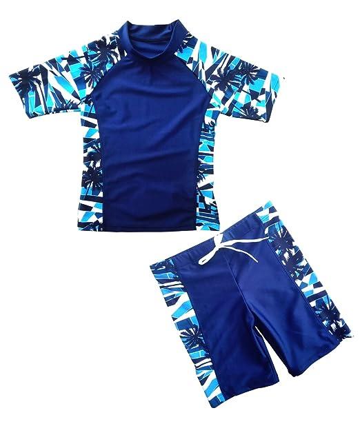 a793df863d DELight Boys Swimming Suit Boys' Rashguard Set with Short Sleeve Rashguard  Swim Shirt 2-