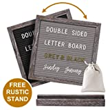 Gelibo Double Sided Letter Board with 750 Precut White & Gold Letters,Months & Days & Extra Cursive Words, Wall & Tabletop Display, Letter Bags, Scissors (Color: Gray and Black)