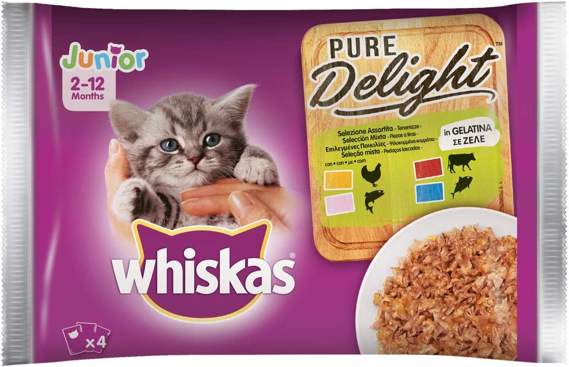 Whiskas Pure Delight - Gelatina surtida Junior, multisabor, 4 x 85 g, Comida para Gatos de 0 a 12 Meses, 13 Paquetes (52 bolsitas en Total)
