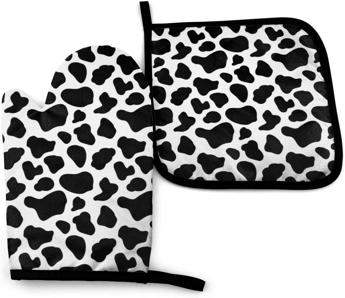 Oven Mitts and Pot Holders Set,Black and White Cow Print Cow Patch Washable Heat Resistant Kitchen Non-Slip Grip Oven Gloves for Microwave BBQ Cooking Baking Grilling