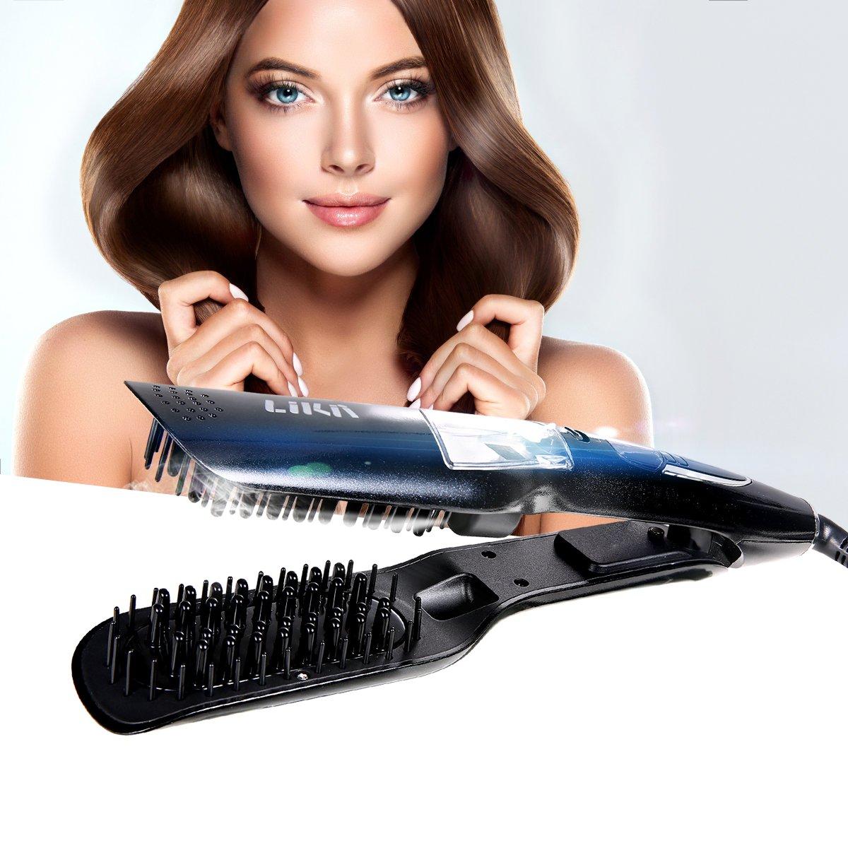 Plancha de pelo, Alisador de pelo, Likii, Cepillo vapor alisador, Peine con pantalla LCD, Alisador de pelo profesional, guantes de regalo.