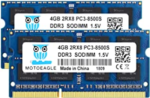8GB Kit (2x4GB) PC3-8500 DDR3 1066 MHz RAM Laptop, Motoeagle 2Rx8 PC3 4GB DDR3 204pin SODIMM Memory 1.5V CL7 Upgrade Chips
