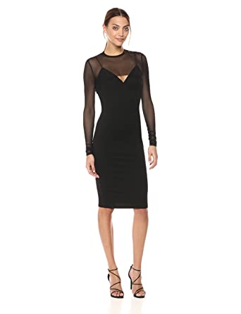 KENDALL + KYLIE Womens Mesh Overlay Dress, Black, Extra Small