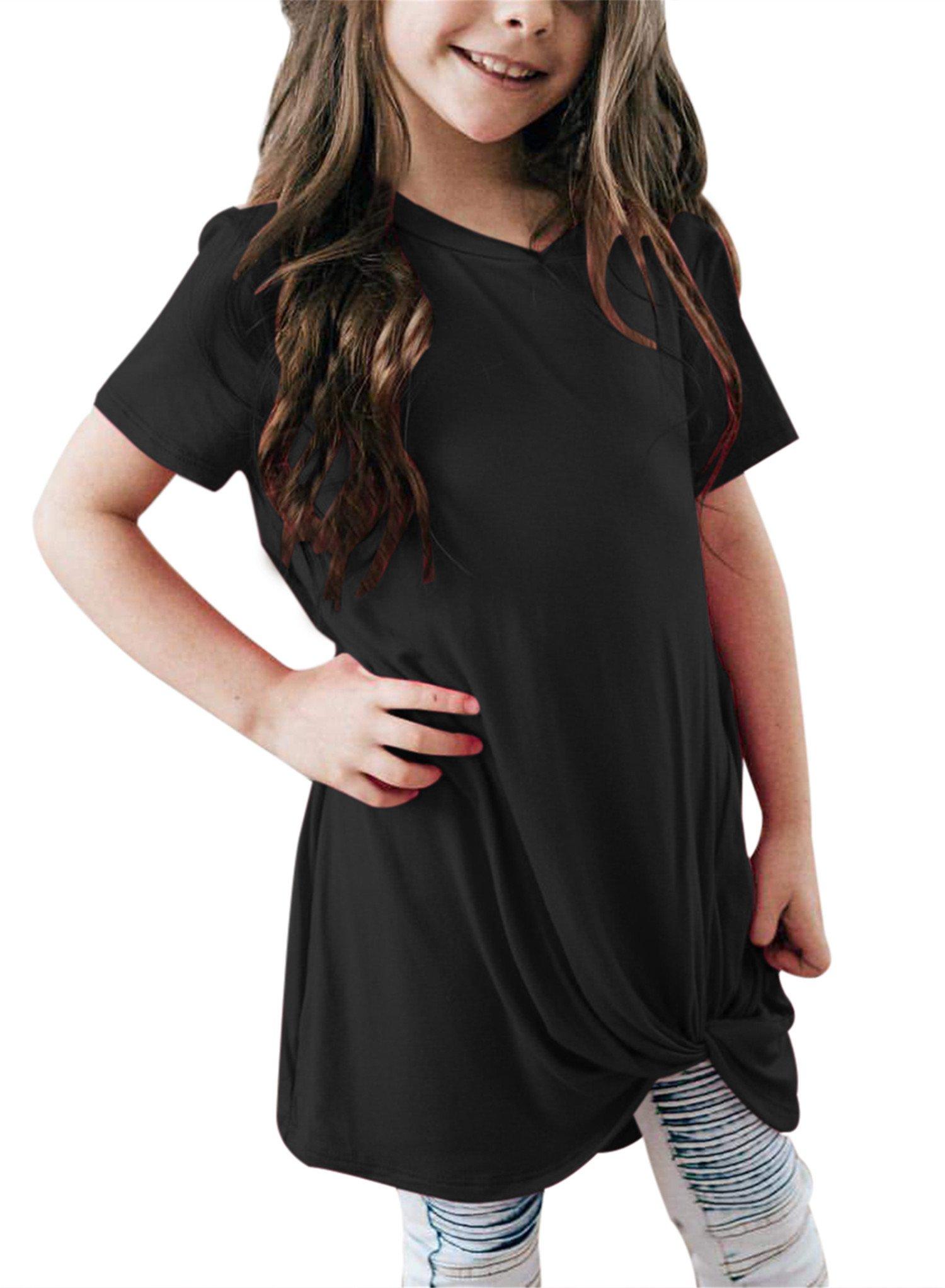 Bulawoo Girls Casual Loose Short Sleeve Tunic Tops Knot Front Big Girls Fashion Tops Tee Shirts Size 4-13 12-13 Years Black