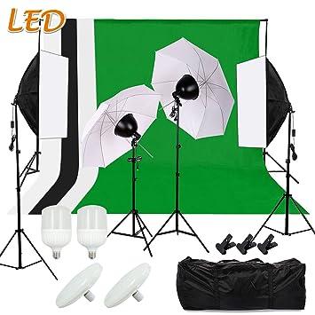 SBARTAR Kit Iluminación Foto Estudio Profesional 2 * Softbox 70 * 50cm 2 * Paraguas Translúcido
