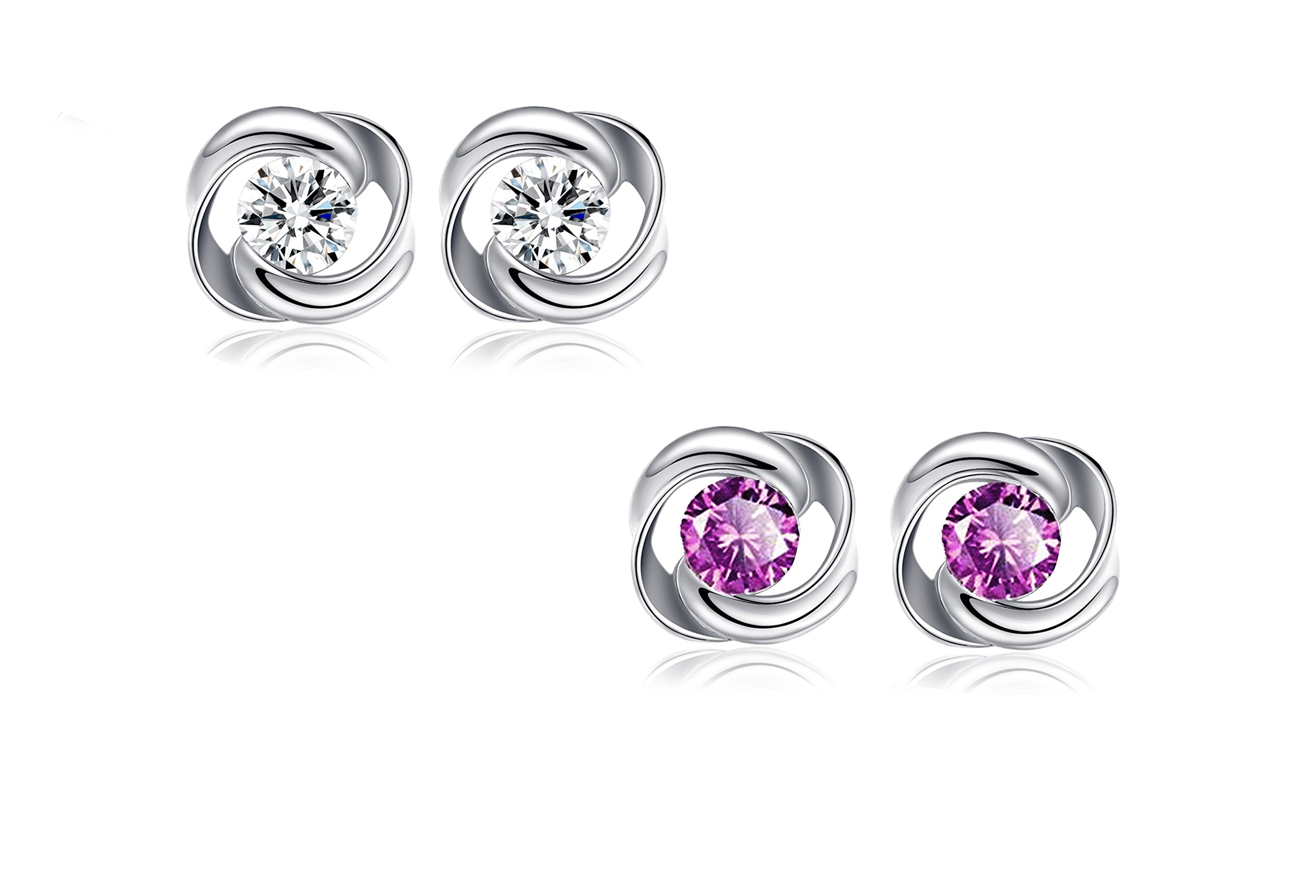 925 Sterling Silver and White Gold Plated Rose Flower Fashion Stud Earrings with Purple Crystal in 2 sets