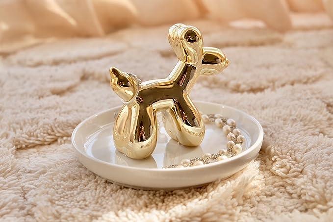 Soporte para anillo de perro globo, anillo de compromiso, plato, boda, pendientes, collar, joyería, bandeja: Amazon.es: Hogar