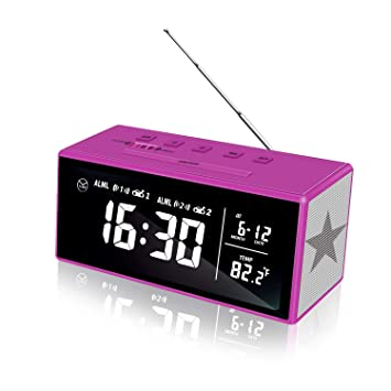 Reloj despertador con pantalla LED de 7 pulgadas, AM/FM ...
