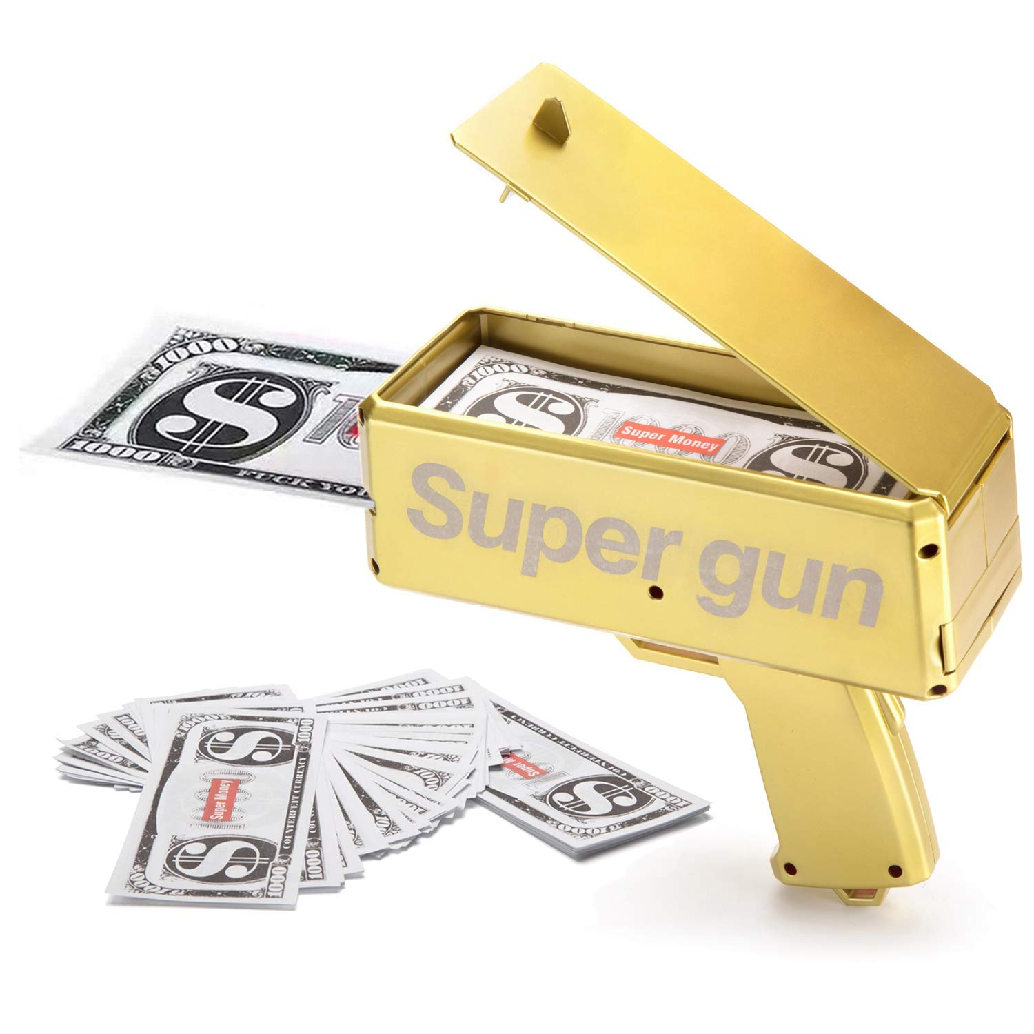 Alagoo Super Money Guns Paper Playing Spary Money Gun Make it Rain Toy Gun, Handheld Cash Gun Fake Bill Dispenser Money Shooter with 100 Pcs Play Money(Metallic Gold)