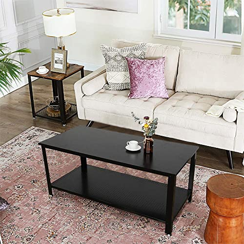 Modern Home Coffee Table – 2 Tier Cocktail Table with Storage Shelf for Living Room Look Accent Furniture with Metal Frame Modern Studio Collection Classic Rectangular