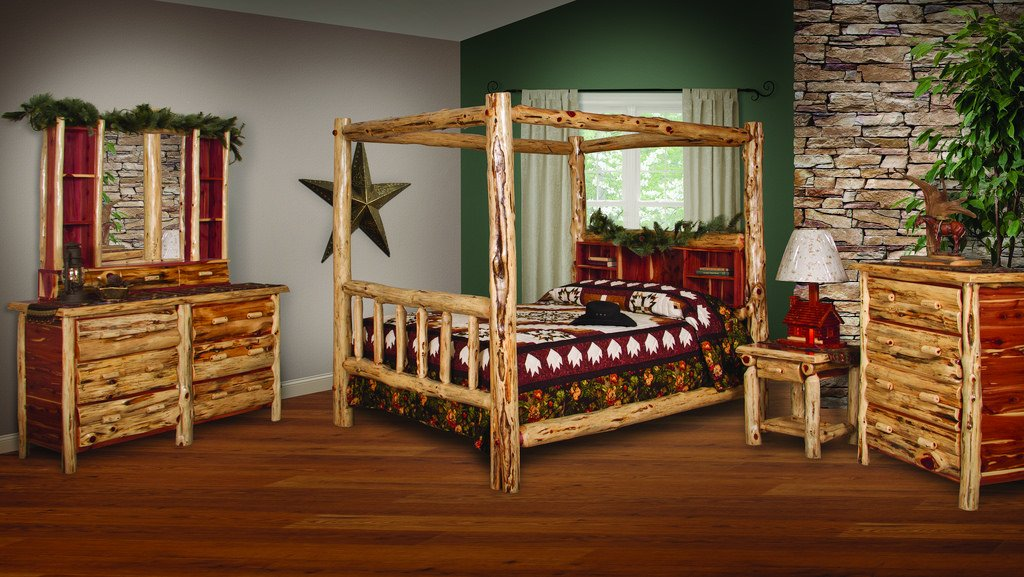 Magnificent Amazon Com Red Cedar Log Queen Size 5 Pc Bedroom Furniture Home Interior And Landscaping Pimpapssignezvosmurscom