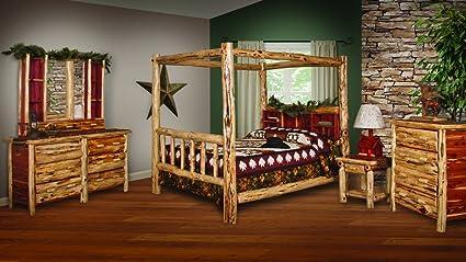 Amazon.com: Red Cedar Log KING SIZE 5 pc Bedroom Furniture ...