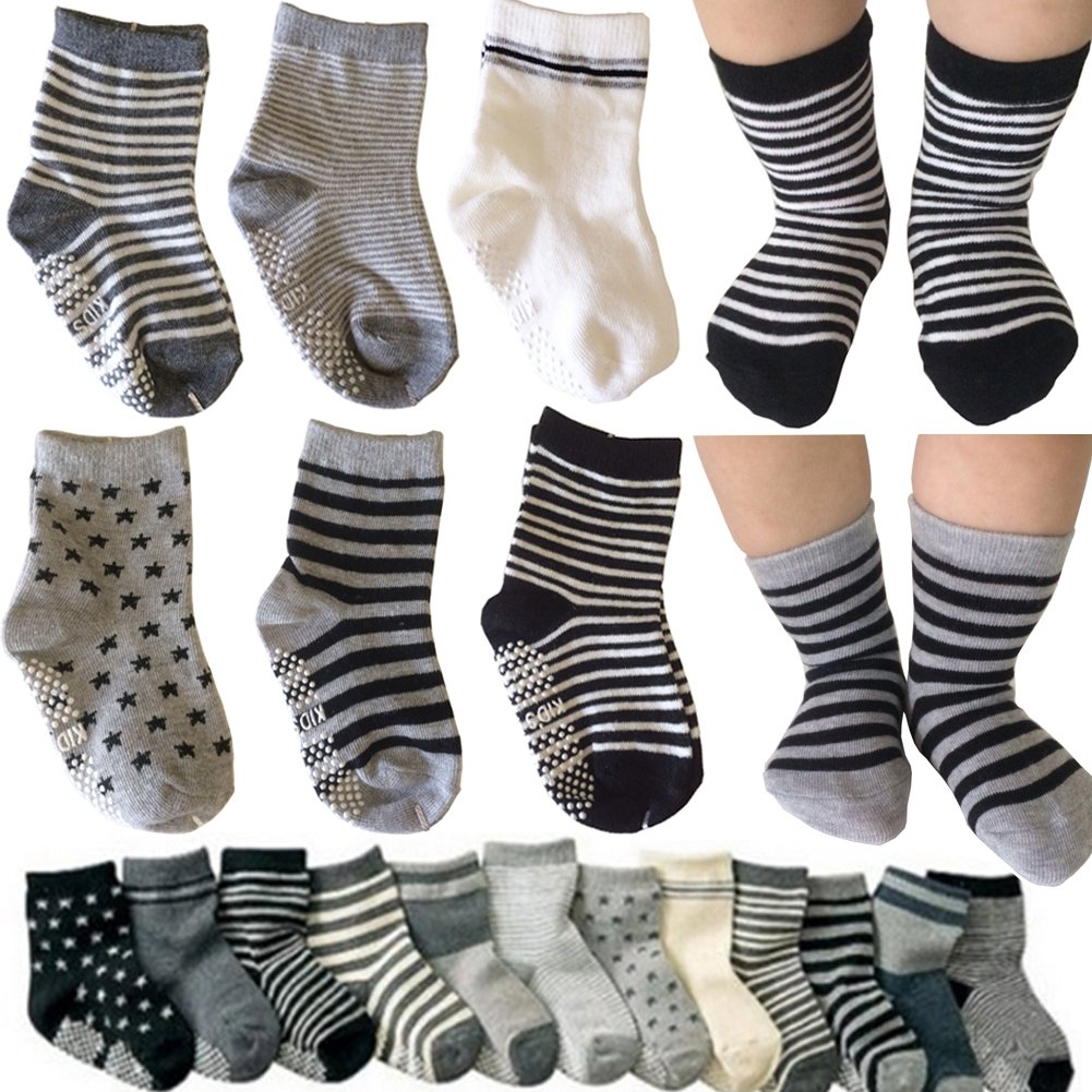 6 Pairs Toddler Non Skid Anti Slip Crew Socks with Grips for Baby Boys Ankle Walker Cartoon Footsocks Sneakers Socks Kakalu