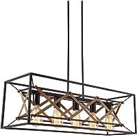 Alice House 31.5″ Dining Room Chandelier, 5 Light Kitchen Pendant Lighting, Farmhouse Island Lighting, Pool Table Light, Brown Finish AL8061-P5
