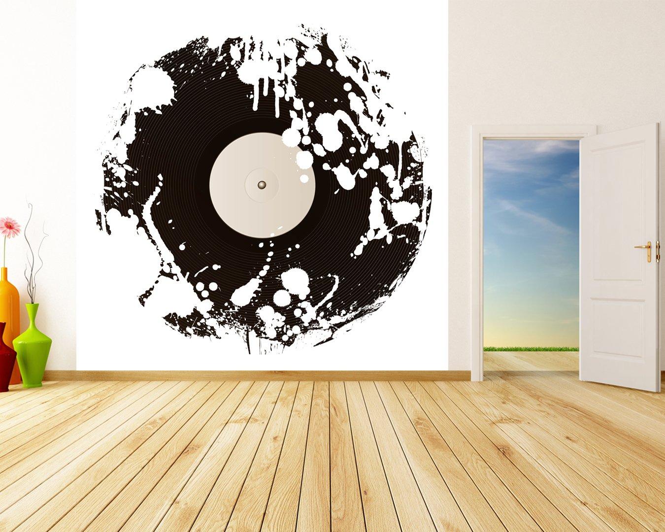Selbstklebende Fototapete - Grunge Schallplatte - schwarz weiss weiss weiss - 200x200 cm - Wandtapete – Poster – Dekoration – Wandbild – Wandposter - Bild – Wandbilder - Wanddeko 2e2e7b