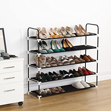 Housen Solutions 5 Tier Shoe Rack 25 Pairs Plastic Shoe Shelf Stand Organizer with Non-Woven Fabric, Black