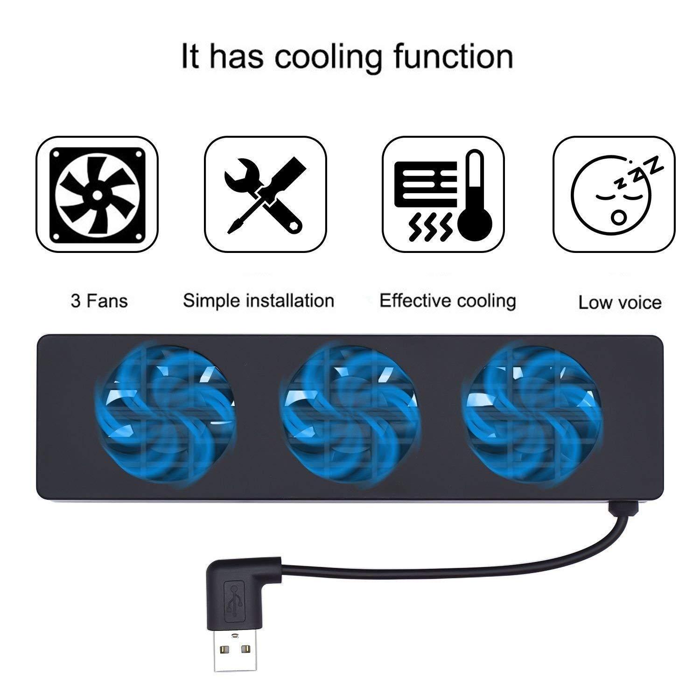DollaTek Raffreddatore di Raffreddamento Alimentazione Esterna USB con 3 ventole Compatibile con Docking Station NS Scarico di Calore Nero Dispositivo di Raffreddamento per Controllo Temperatura