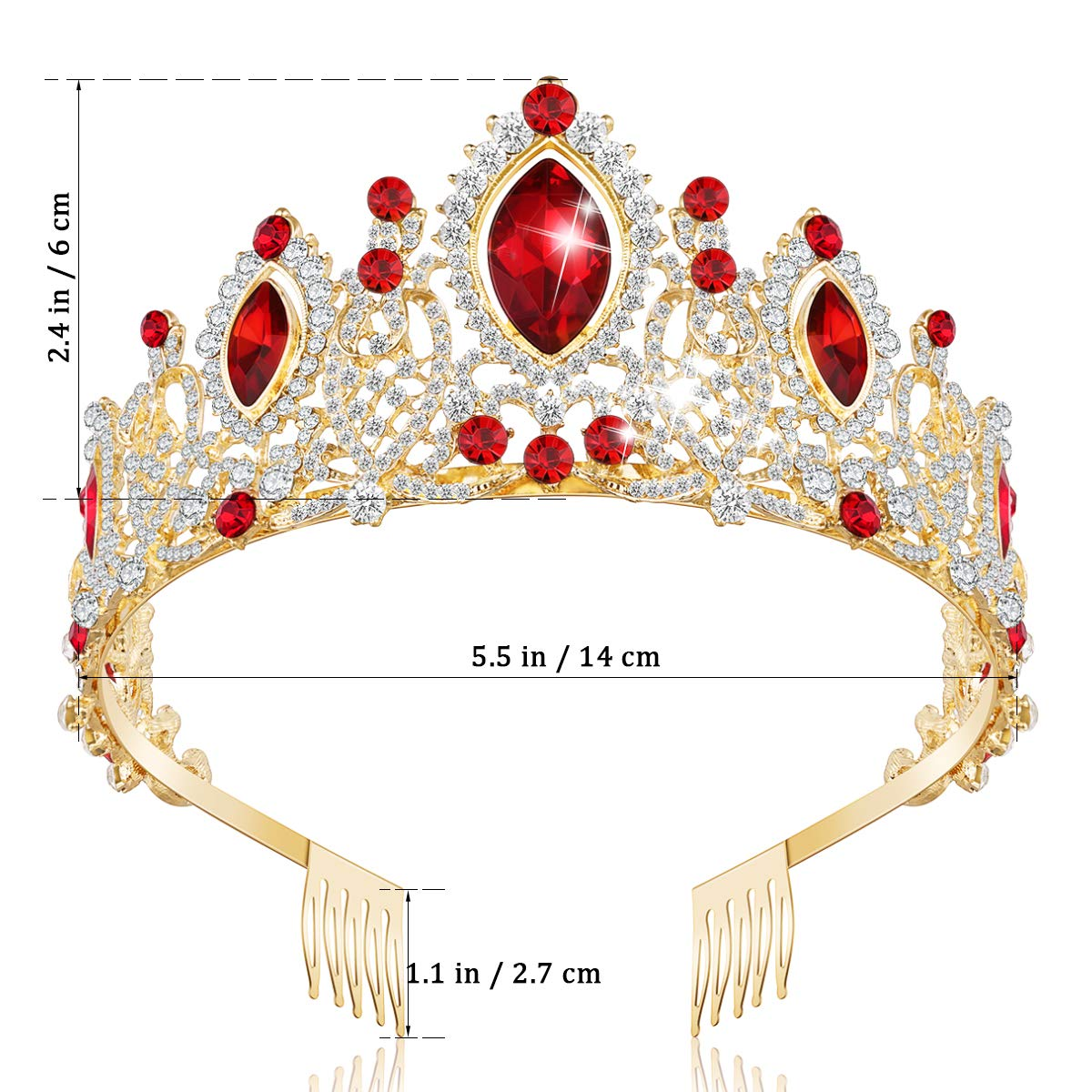 Crowns for Women, Tiaras and Crowns for Women with Crystal & Side Combs (Red)