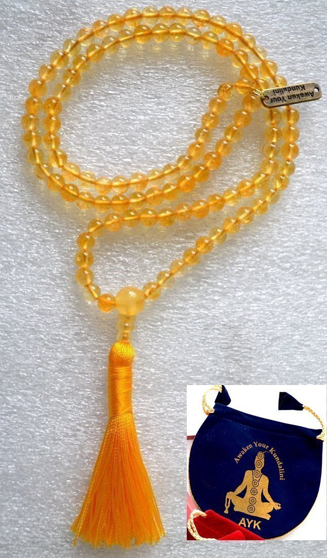 8mm Yellow Jade mala beads Necklace Reiki healing crystal gemstone Handmade tassel mala w/free velvet rosary pouch - Energized 108 Buddhist Tibetan Prayer Beads Meditation Chakra mala - US Seller