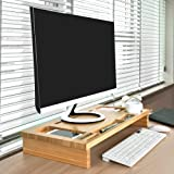 Bamboo Computer Monitor Stand Riser Ipad Holder Stand with Storage Organizer Laptop Cellphone TV Printer Stand