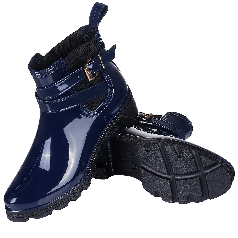 Smiry Womens Short Rain Boots Glossy Waterproof Platform Slip On Ankle Boots Elastic Chelsea Booties