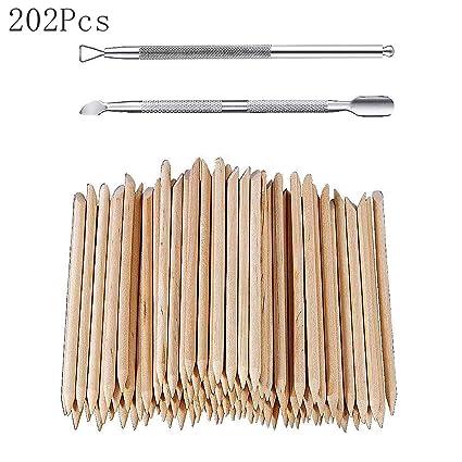 200 palos de madera para cutículas y 2 pinchos para ...
