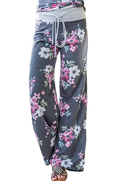 Jumojufol Pantalón Largo Mujer Floral Casual Yoga Daily ...