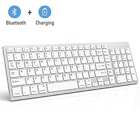 be94b10bb8a Bluetooth Keyboard, Jelly Comb Rechargeable Slim BT Wireless Keyboard with Number  Pad Full Size Design