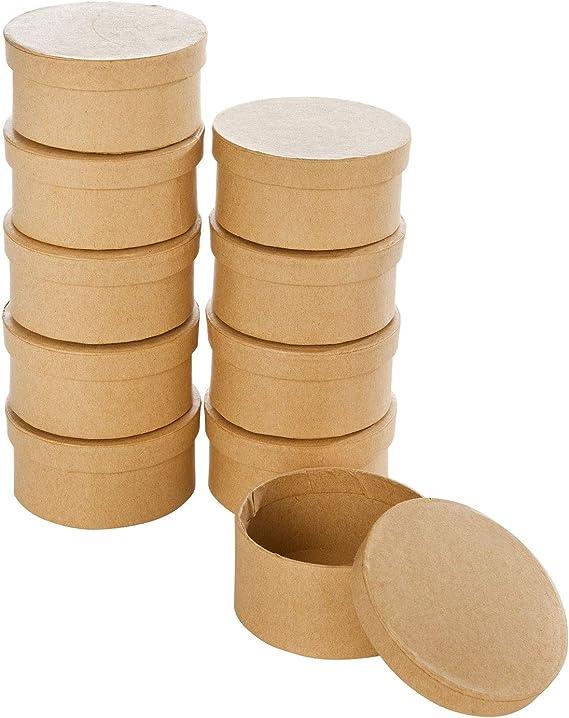 color natural 8 x 4 cm regalar y guardar Mini cajas de regalo de cart/ón ideales para adornar redondas 10 unidades folia 3320