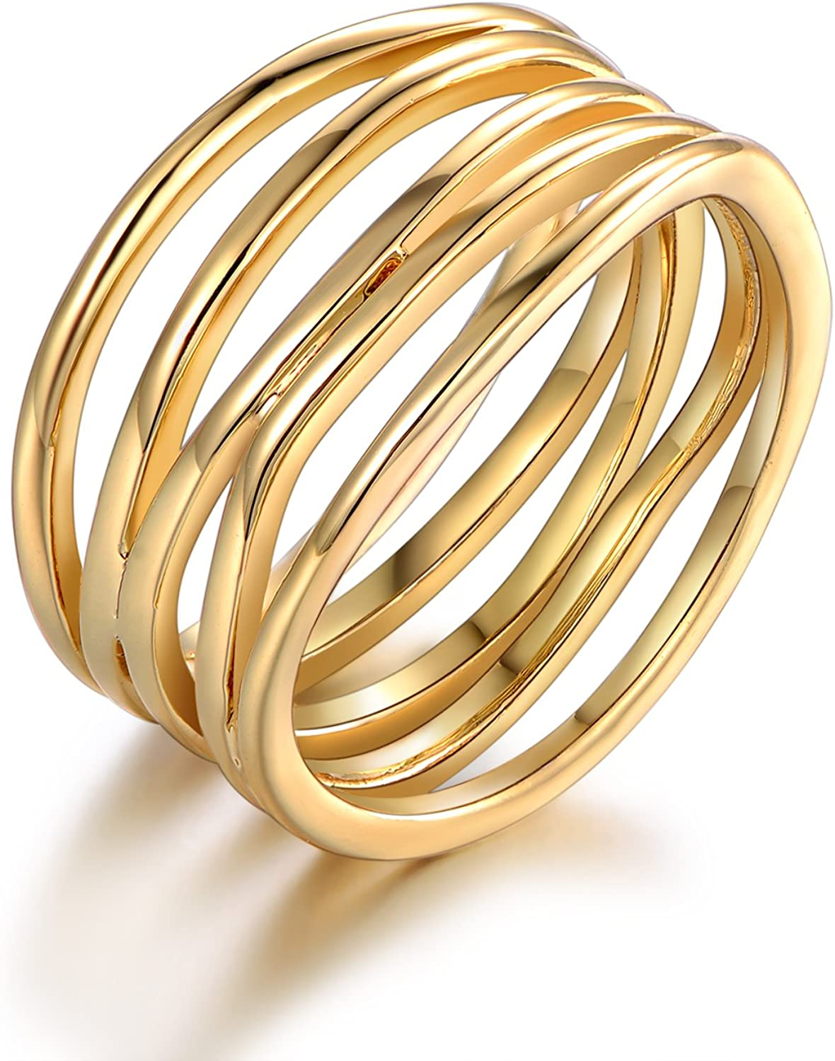 Barzel Gold, Rose Gold & White Gold Plated Statement Ring