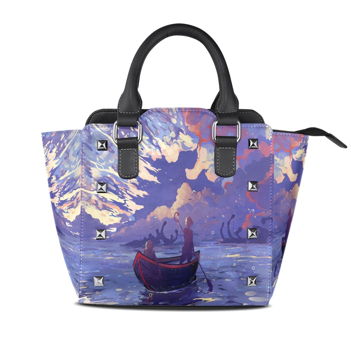 Womens Genuine Leather Hangbags Tote Bags Boat Purse Shoulder Bags