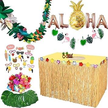 PHYNEDI Decoración de Fiesta Hawaiana 83 Piezas Falda de Mesa Luau ...