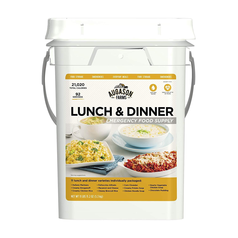 Augason Farms Lunch & Dinner Emergency Food Supply 11 lbs 11.2 oz 4 Gallon Pail (3 PAILS)