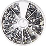 Rayher Hobby 38643606Hotfix de remaches Formas Mix 2,5-10mm, clasificador 420unidades), Plata