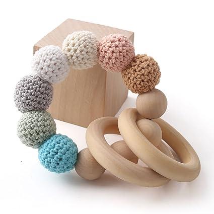 baby tete Cuentas de madera originales mordedor bebé crochet traquetea madre accesorios de enfermería Infantil juguete sensorial clásico bebé ...