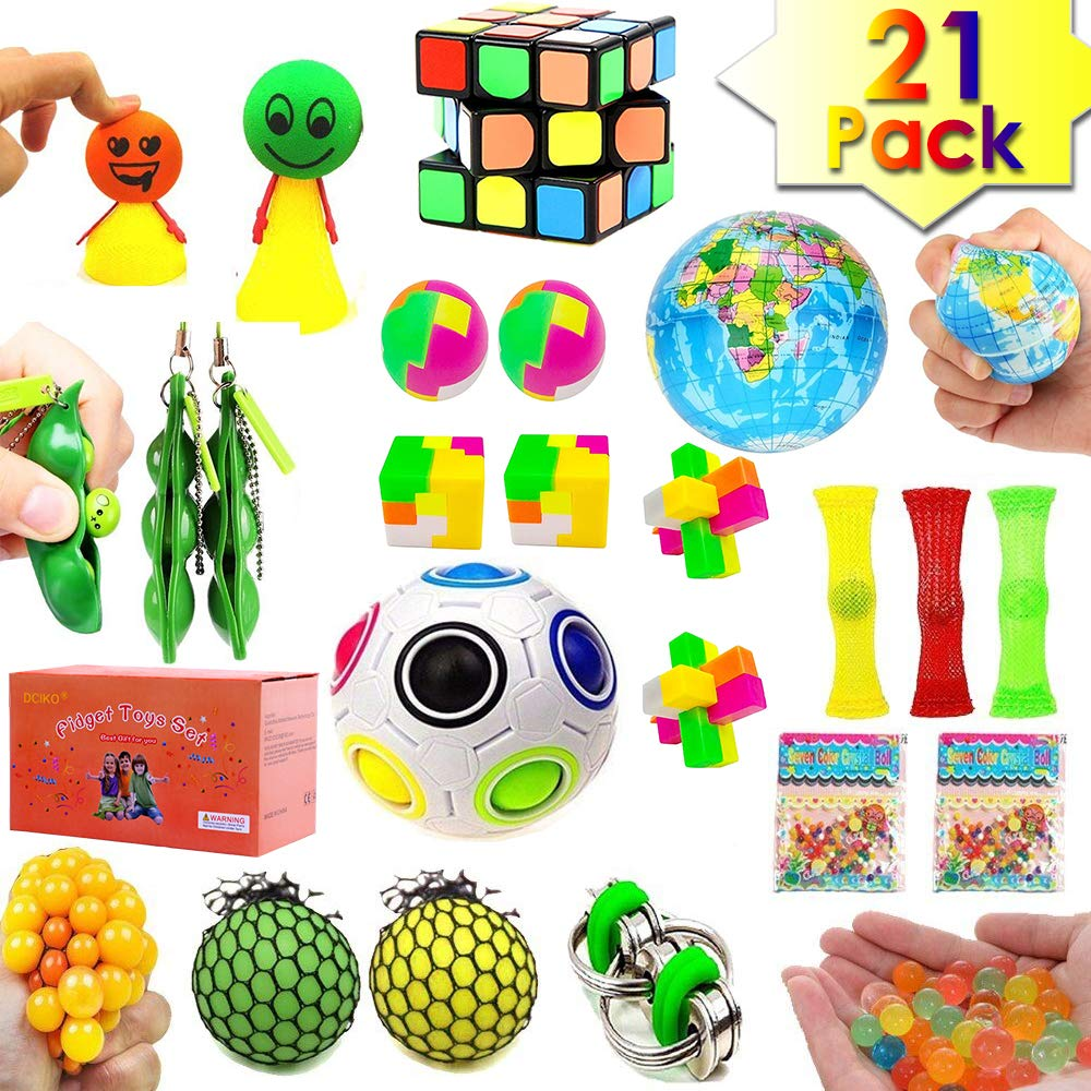 UPSTONE 21 Pack Sensory Fidget Toys Bundle Stress Relief Toys for Adults and Kids Squeeze Widget for Relaxing Therapy Calming Toys Perfect for ADHD Anxiety Autism Fidget Hand Toys Assortment
