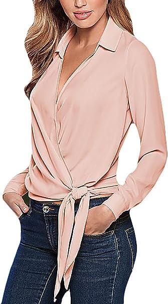 Camisas Mujer Manga Larga De Solapa Crossover Cinturon Elegantes Casual Otono Primavera Blusas Polo Juvenil Clasico Negocios Office Wear Shirt Tops Solidos Blusones Amazon Es Ropa Y Accesorios