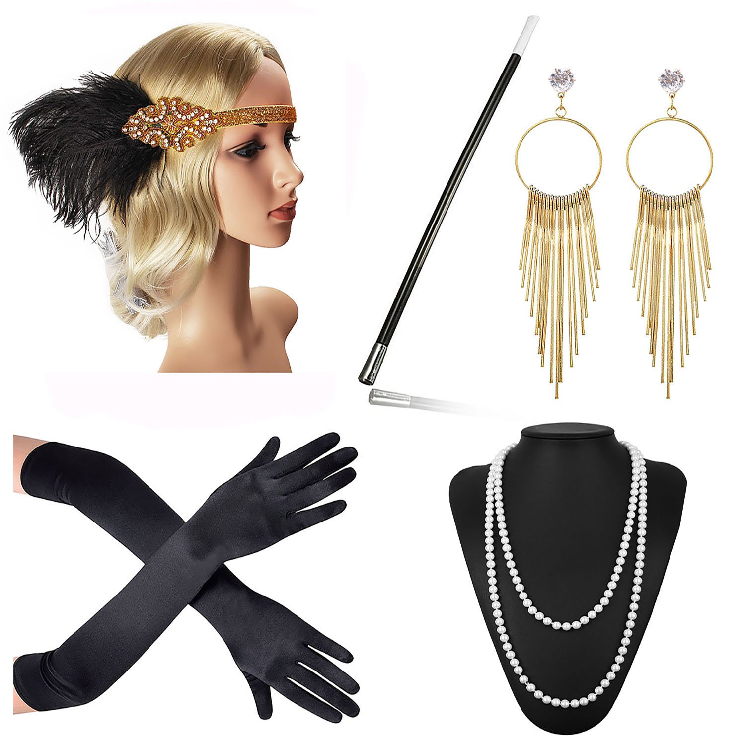 Beelittle 1920s Accessories Headband Earrings Necklace Gloves Cigarette Holder (F4)
