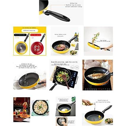 Para Filete frito antiadherente olla sin humo Cocina de inducción Cocina de gas universal Cocina amarilla disponible Estufa de gas roja disponible Aleación ...