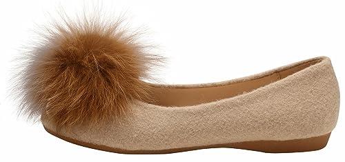 SimpleC Zapatos Planos Pom Pom de Mujer, Slip-On, Mocasines Mochilas Andi con Plantilla de Piel de Oveja: Amazon.es: Zapatos y complementos