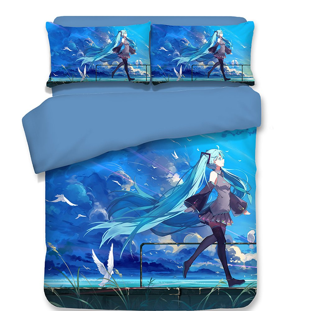 Sport Do Kids Anime Hatsune Miku Twin Bedding Sets, 1PC Duvet Cover Set with 2PC Pillowcases for Teens Reversible Lightweight, Skyblue