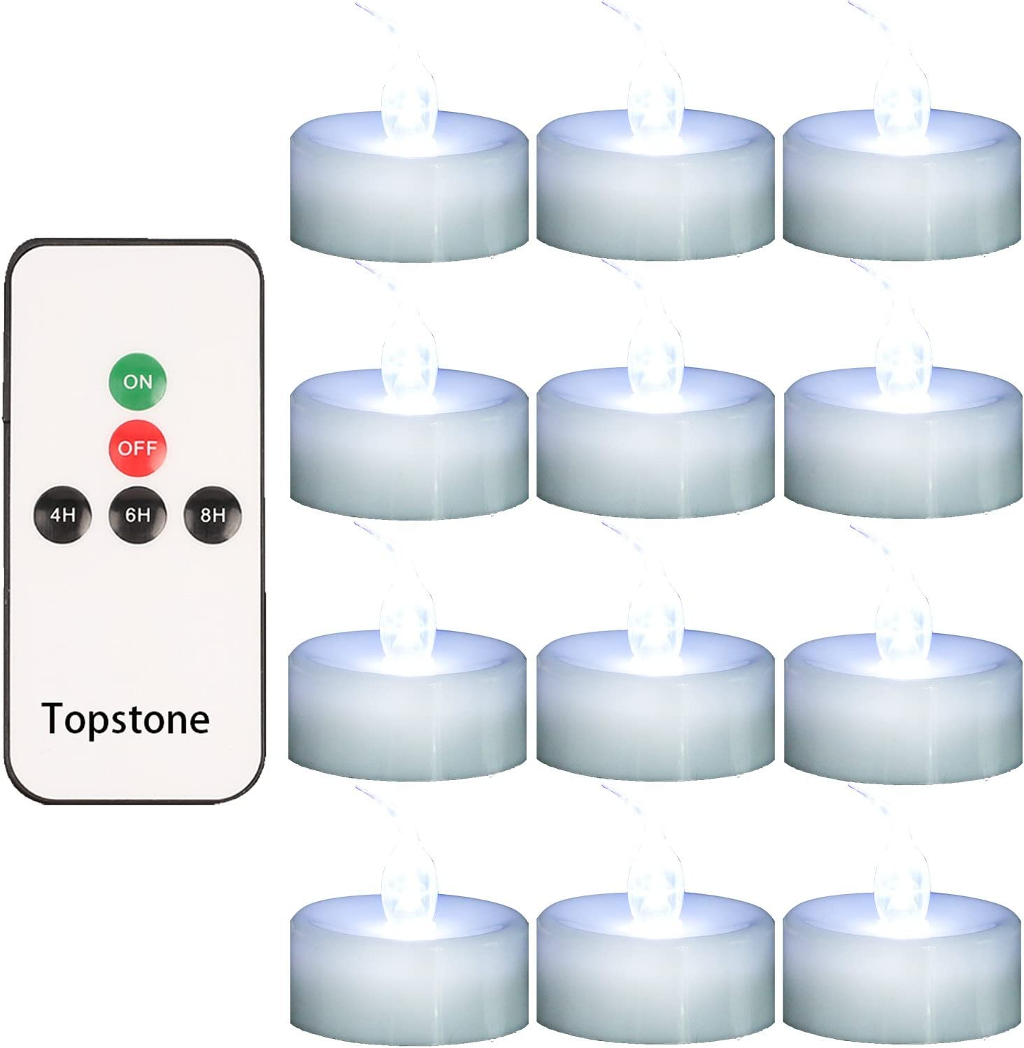 Topstone Flameless candles Remote Controlled LED Tea Light with 4H 6h 8HTimer,Warm White Flickering Bulb,Battery Operated LED votive candlen,Pack of 12