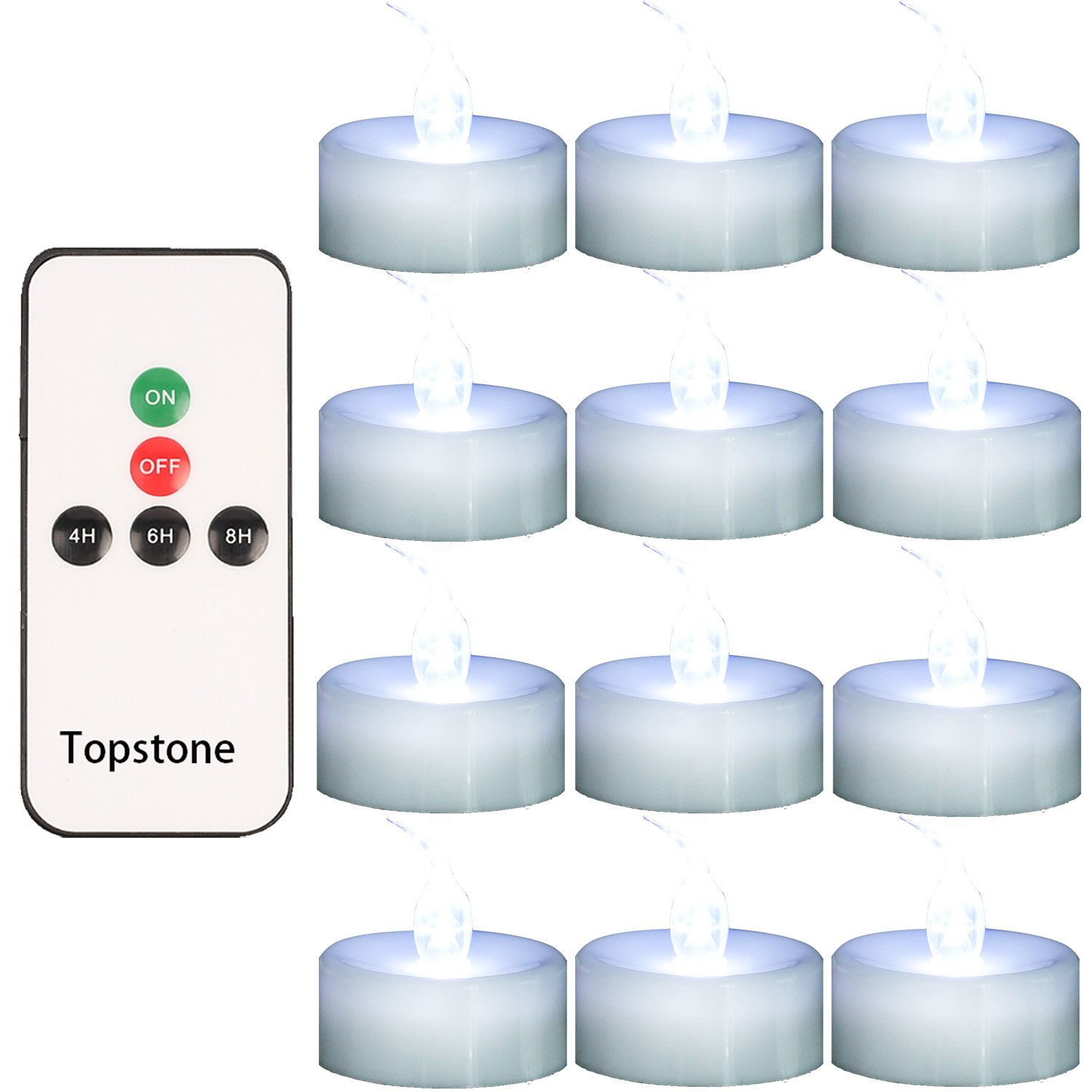 Topstone Pack of 12 Remote Controlled LED Tea Light,White Flickering Bulb,Long Lasting Battery Operated LED votive candle with Timer,for Seasonal &Festival Celebration (Cold White)